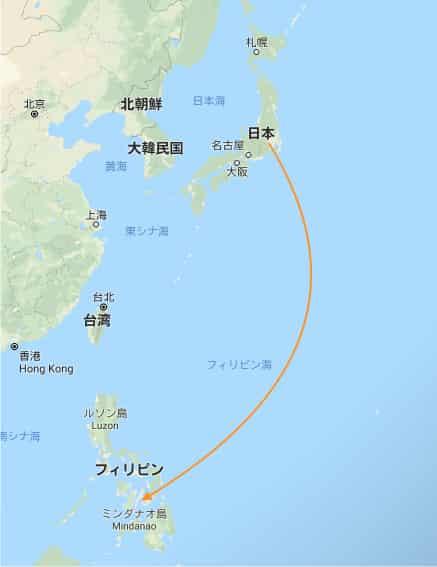 日本からフィリピンの地図